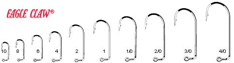 Eagle claw 570 red aberdeen jig hooks for Fishing hook size chart actual size